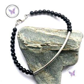Black Onyx Silver Tube Bracelet